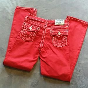 True Religion girls size 12 red straight leg jeans